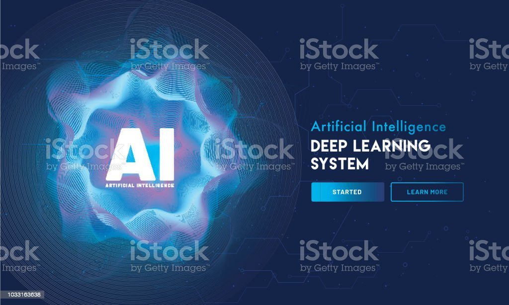 Artificial Intelligence (AI) landing page design, hi-tech blockchain network on neural network background. vector art illustration