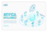 Artificial intelligence landing page isometric vector template. Head with circuit board 3d illustration. Futuristic innovation, cloud computing server. Datacenter, database website homepage 3d layout