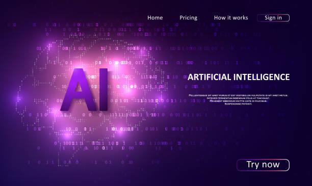Artificial Intelligence landing page vector art illustration