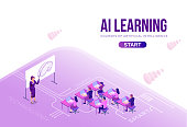 Artificial intelligence lerning courses concept with isometric people, 3d illustration with ai, modern concept of online learning, landing page background