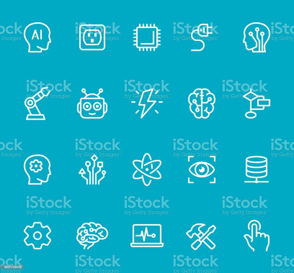 Inteligencia artificial - conjunto de iconos de línea - ilustración de arte vectorial