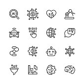 16 Artificial Intelligence Outline Icons.
