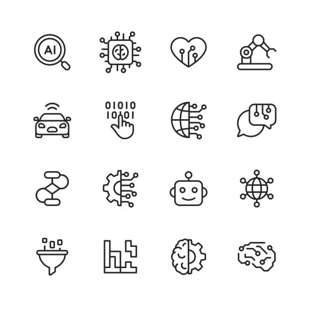 artificial intelligence line icons. editable stroke. pixel perfect. for mobile and web. contains such icons as artificial intelligence, machine learning, internet of things, big data, network technology, robot, finance cloud computing. - ai stock illustrations