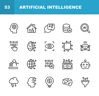 Artificial Intelligence Line Icons. Editable Stroke. Pixel Perfect. For Mobile and Web. Contains such icons as Artificial Intelligence, Machine Learning, Internet of Things, Big Data, Network Technology, Robot, Finance Cloud Computing.