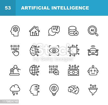 20 Artificial Intelligence Outline Icons.