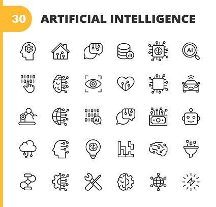 Artificial Intelligence Line Icons. Editable Stroke. Pixel Perfect. For Mobile and Web. Contains such icons as Artificial Intelligence, Machine Learning, Internet of Things, Big Data, Network Technology, Cloud Computing, Programming, Self Driving Car.