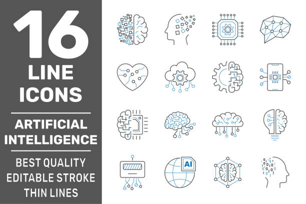 Artificial intelligence line icons. Set of brain, robot, ai, head, technology and more. Editable stroke. EPS 10 vector art illustration