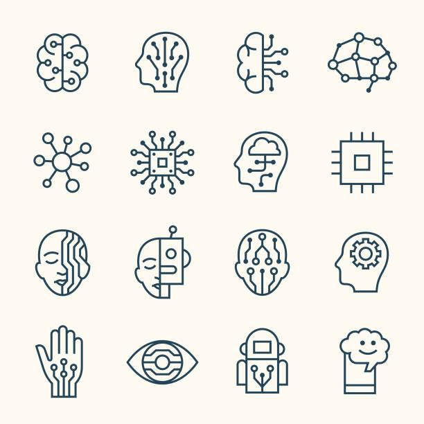 人工知能のラインアイコン - ai点のイラスト素材/クリップアート素材/マンガ素材/アイコン素材