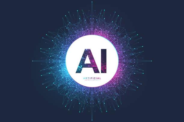 人工知能ロゴ。人工知能と機械学習の概念。ベクトルシンボル ai.ニューラルネットワークと他の近代的な技術の概念。量子コンピュータ技術の概念。 - ai点のイラスト素材/クリップアート素材/マンガ素材/アイコン素材