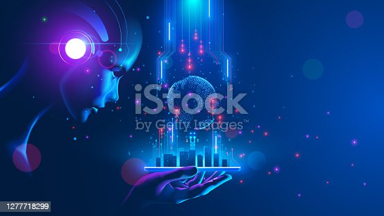 istock Artificial intelligence looking at smart city, connected with planet through global mobile internet on phone. AI control city infrastructure, data traffic, ensure safety. World communication concept. 1277718299