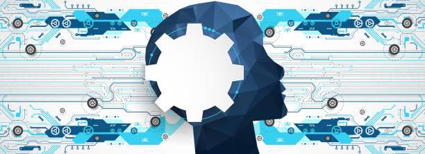 Künstliche Intelligenz (KI) Maschine Cyber-Geist. Technologie-Vektor-Hintergrund. – Vektorgrafik