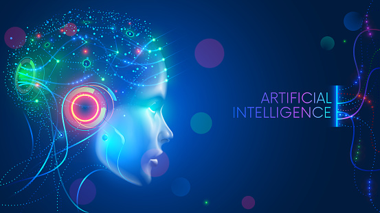 Artificial intelligence. Neural network. AI with Digital Brain is learning. Face of cyber mind. Technology background concept.