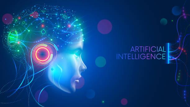 ilustraciones, imágenes clip art, dibujos animados e iconos de stock de inteligencia artificial. red neuronal. ai con cerebro digital está aprendiendo. cara de la mente cibernética. concepto de fondo tecnológico. - inteligencia artificial