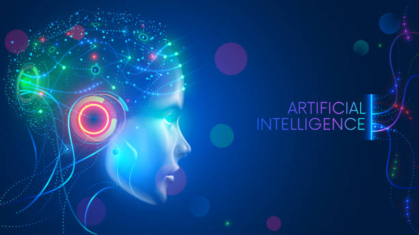 artificial intelligence. neural network. ai with digital brain is learning. face of cyber mind. technology background concept. - futurystyczny stock illustrations