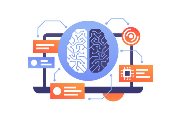 Artificial intelligence of modern technology brain in laptop. Artificial intelligence of modern technology brain in laptop. Isolated concept device with message box using ai and new processor. Vector illustration. machine learning stock illustrations