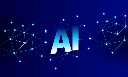 Artificial Intelligence on neural network background. stock illustration