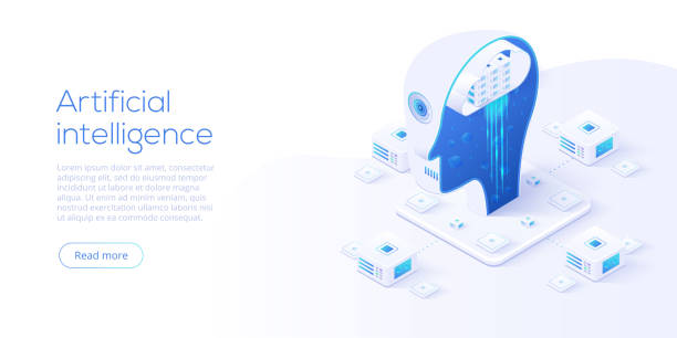 artificial intelligence or neural network concept in isometric vector illustration. neuronet or ai technology background with robot head and connections of neurons. web banner layout template. - ai stock illustrations