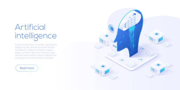 i̇zometrik vektör resimde yapay zeka veya neural ağ kavramı. robot kafası ve nöronların bağlantıları ile nöronet veya ai teknoloji arka plan. web afiş düzeni şablonu. - ai stock illustrations