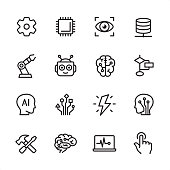 Artificial Intelligence - outline icon set