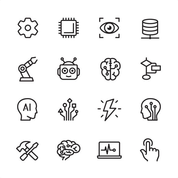 artificial intelligence - outline icon set - sztuczna inteligencja stock illustrations