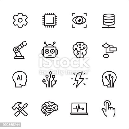 Artificial Intelligence Outline Icon Set Stock Vector Art