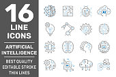 Artificial Intelligence outline icons set. AI technology, IIoT, cyberbrain and AI brain concept. Editable Stroke. EPS 10