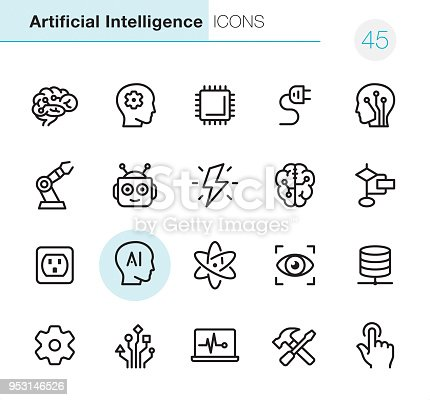 20 Outline Style - Black line - Pixel Perfect icons / Set #45 /  Artificial Intelligence /Icons are designed in 48x48pх square, outline stroke 2px.  First row of outline icons contains: Human Brain, Brainstorming, CPU, Electric Plug, Electronic Nerve Cell;  Second row contains: Robotic Arm, Robot, Lightning (Idea), Digital Brain, Planning Chart;  Third row contains: Electric Outlet, Artifiacial Intelligence, Nuclear Energy, Focus Eye, Network Server;   Fourth row contains: Gear icon, Circuit Board, Laptop Chart, Work Tool, Switch Button.  Complete Primico collection - https://www.istockphoto.com/collaboration/boards/NQPVdXl6m0W6Zy5mWYkSyw