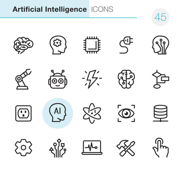 Artificial Intelligence - Pixel Perfect icons 20 Outline Style - Black line - Pixel Perfect icons / Set #45 /  Artificial Intelligence /Icons are designed in 48x48pх square, outline stroke 2px.  First row of outline icons contains: Human Brain, Brainstorming, CPU, Electric Plug, Electronic Nerve Cell;  Second row contains: Robotic Arm, Robot, Lightning (Idea), Digital Brain, Planning Chart;  Third row contains: Electric Outlet, Artifiacial Intelligence, Nuclear Energy, Focus Eye, Network Server;   Fourth row contains: Gear icon, Circuit Board, Laptop Chart, Work Tool, Switch Button.  Complete Primico collection - https://www.istockphoto.com/collaboration/boards/NQPVdXl6m0W6Zy5mWYkSyw information technology stock illustrations