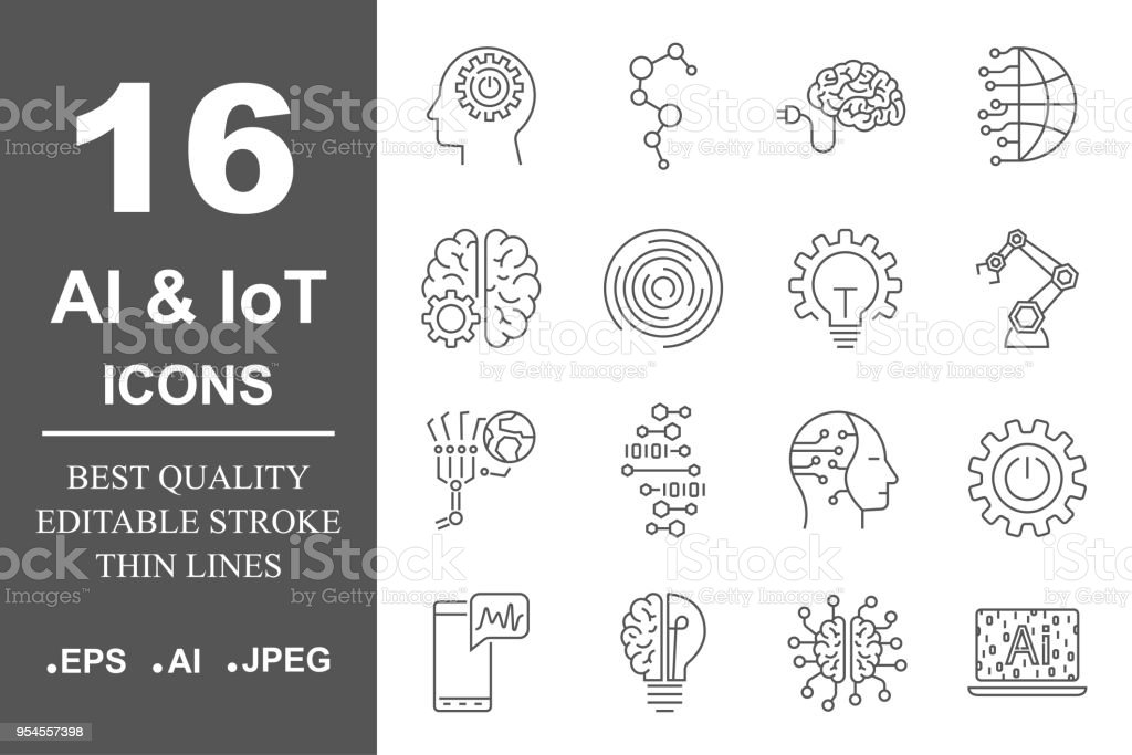 Artificial Intelligence Related Vector Icon AI, IoT, robot, chipping, setting. Editable Stroke vector art illustration