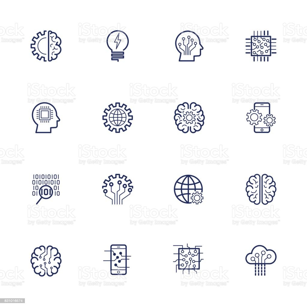 Artificial Intelligence Related Vector Icon AI, robot, chipping, setting. Editable Stroke royalty-free artificial intelligence related vector icon ai robot chipping setting editable stroke stock vector art & more images of analyzing