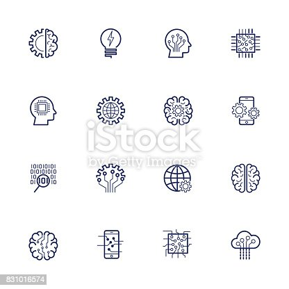 Artificial Intelligence Related Vector Icon AI, robot, chipping, setting Editable Stroke