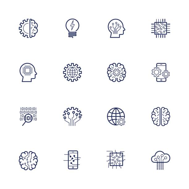 Artificial Intelligence Related Vector Icon AI, robot, chipping, setting. Editable Stroke vector art illustration