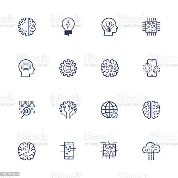 Artificial Intelligence Related Vector Icon Ai Robot Chipping Setting Editable Stroke Stock Illustration - Download Image Now