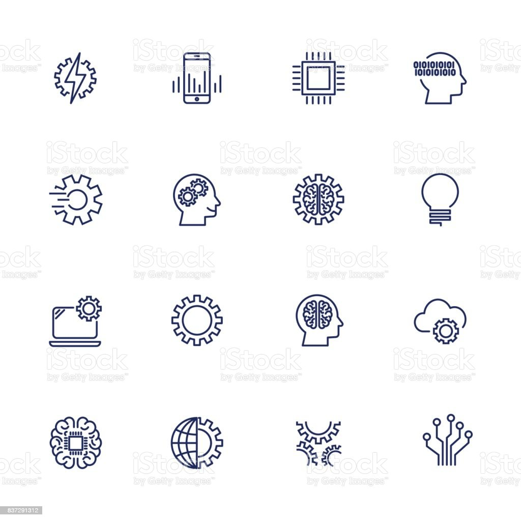 Artificial Intelligence Related Vector Icons vector art illustration