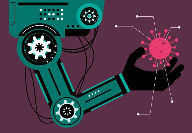 Artificial intelligence robot (robotic arm) analyzing coronavirus (bacterium, biological cell, virus) vector art illustration
