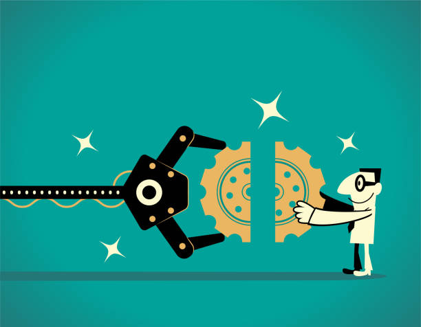 Artificial intelligence robot arm and businessman completing gear jigsaw puzzle (teamwork) vector art illustration