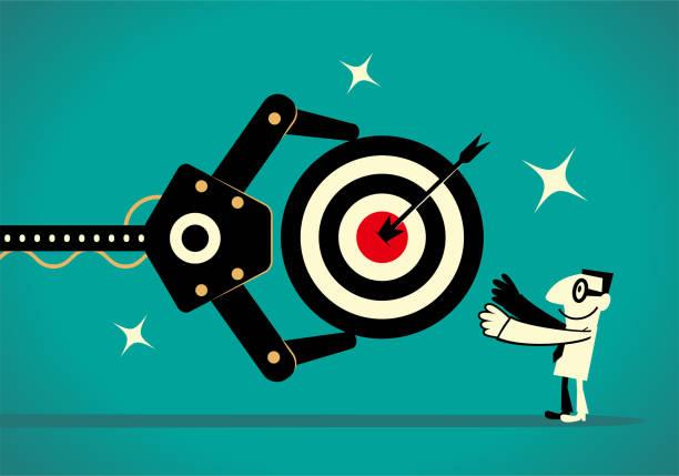 Artificial intelligence robot arm gives a businessman a dartboard (goal, target) that has an arrow on the bull's-eye vector art illustration