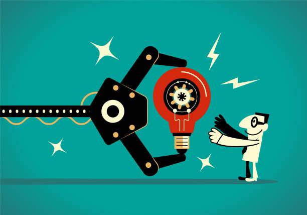 Artificial intelligence robot arm showing a big idea light bulb to a businessman (maker) vector art illustration