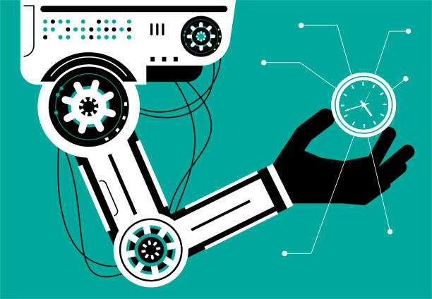 Artificial intelligence Robot (Robotic arm) carrying a clock (Time) vector art illustration