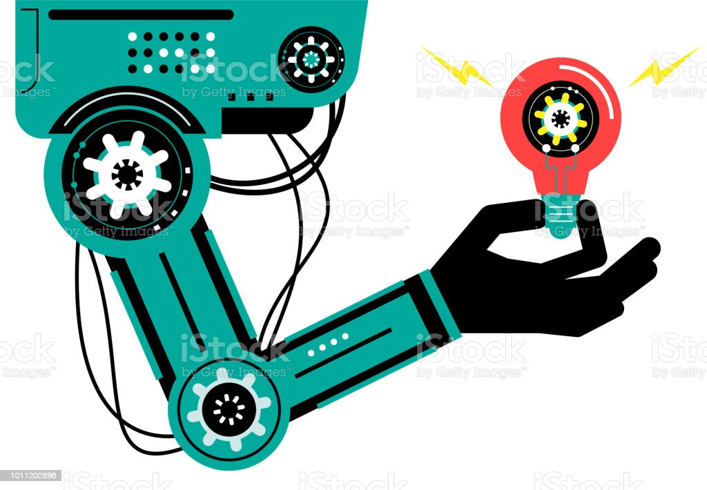 Artificial intelligence Robot (Robotic arm) carrying a gear vector art illustration