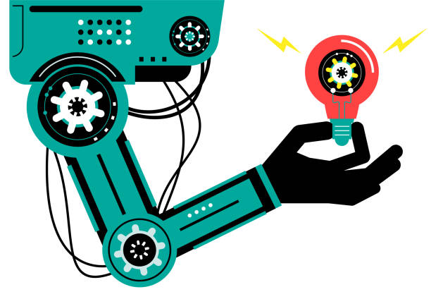 Artificial intelligence Robot (Robotic arm) carrying a gear AI Robot Characters Vector art illustration.Copy Space. Artificial intelligence Robot (Robotic arm) carrying a gear. automated stock illustrations