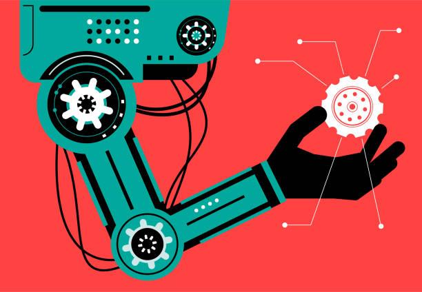 Artificial intelligence Robot (Robotic arm) carrying a gear vector art illustration