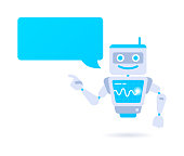 AI digital robot chat speech bubble character with copy space.