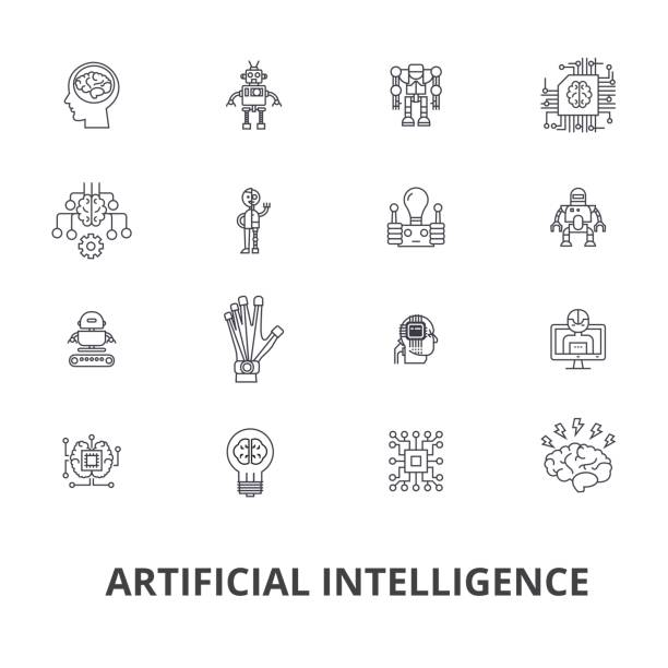 Artificial intelligence, robot, computer brain, technic, cyborg, brain, android line icons. Editable strokes. Flat design vector illustration symbol concept. Linear signs isolated vector art illustration