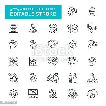 Human Brain, Data, Artificial Intelligence, Robot, Intelligence, Editable Stroke Icon Set