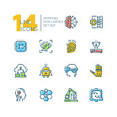 Artificial intelligence - set of line design style icons