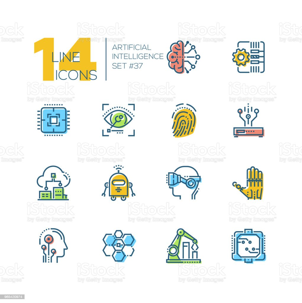 Artificial intelligence - set of line design style icons royalty-free artificial intelligence set of line design style icons stock vector art & more images of artificial