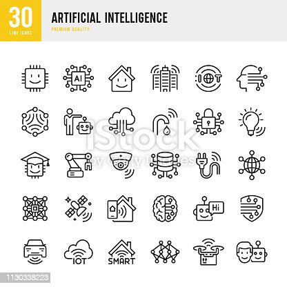 Set of 30 IOT & Artificial Intelligence line vector icons. IOT, Smart Home, Artificial Intelligence, Digital Brain, Neural Network, Robot, Satellite, Autopilot, Cloud Computing, Smart Cities, Security Camera and so on