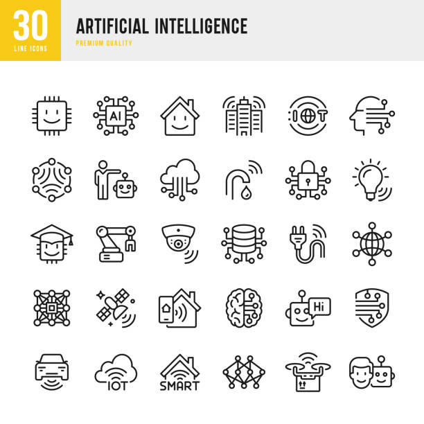 artificial intelligence - set of line vector icons - ai stock illustrations