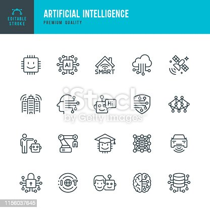 Set of 20 Artificial Intelligence & Internet of Things line vector icons. Robots, Artificial Intelligence, Machine Learning, Computer Chip, Big Data, Smart Home and so on.